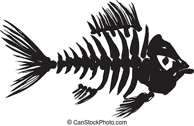 fish skeleton - primitive, rough image of fish skeleton in...