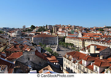 Lisbon, Portugal - Beautiful view of Lisbon tiled roofs