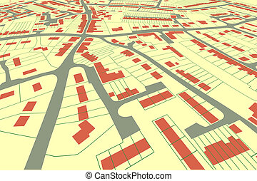 Streetmap perspective - Angled view of a housing map in a...