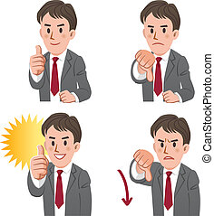 Businessman thumbs up and down - Set of businessman...