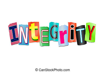 Integrity concept - Illustration depicting cutout printed...