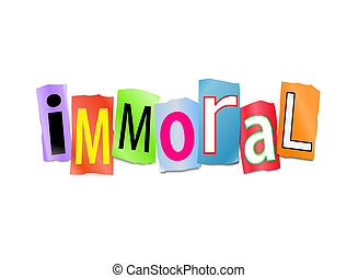 Immoral concept - Illustration depicting cutout printed...