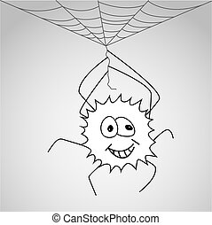Funny little spider hangs on the web - Vector illustration...