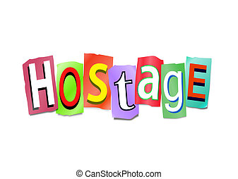Hostage concept. - Illustration depicting cutout printed...