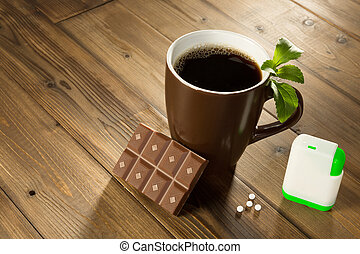 Stevia chocolate and coffee - Cup of coffee with stevia...