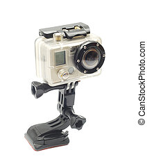 video camera - adventure video camera isolated on white