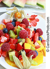 Fruit salad - Delicious fruit salad with fresh fruits and...