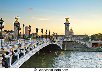 Bridge of Alexandre III at sunset - Alexandre III Bridge at...
