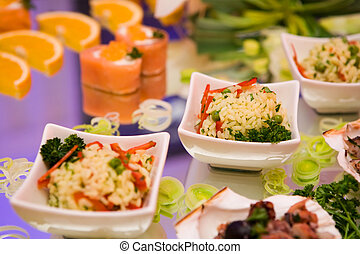 Chinese cuisine with rice and seafood