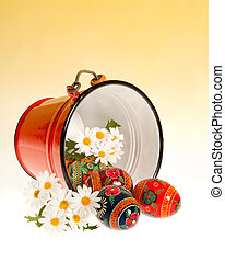 Easter bucket - Red bucket filled with russian traditional...