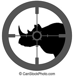 Rhino Endangered - Illustration of a silhouette Rhino with a...