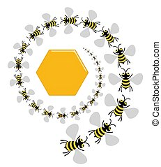 Bee Spiral - Illustration of lots of bees spiralling into...