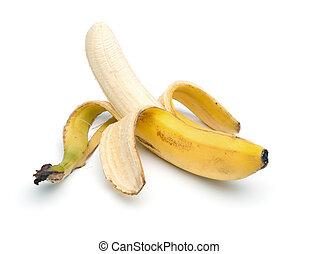 Peeled Banana, isolated on white - Single peeled banana,...