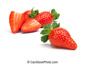 Group of Strawberries - Fresh red strawberry fruits, one cut...