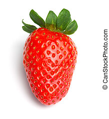 Single Strawberry - Single red strawberry fruit. Isolated on...