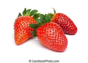Three Strawberries - Three fresh red strawberry fruits....