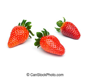 Three Strawberries, isolated - Three fresh red strawberry...