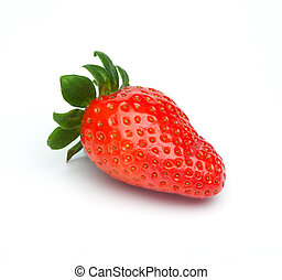 Red Strawberry Fruit isolated - Single red strawberry fruit...