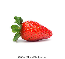 Red Strawberry Fruit isolated - Single red strawberry fruit....