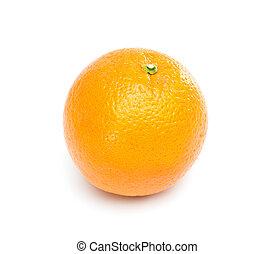 Single Orange fruit.  Isolated on white background.