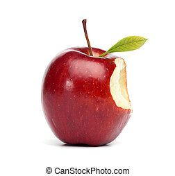 Red Apple with Bite - Single red apple with a bite mark,...