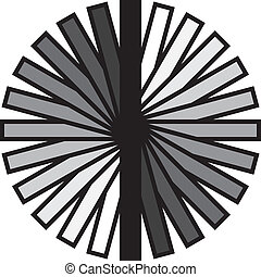Circular fan gray scale with black strokes