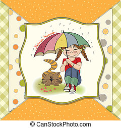 young pretty girl and her cat, friendship card