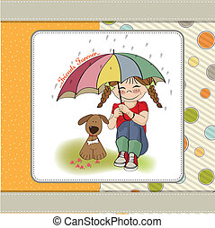 young pretty girl and her dog, friendship card in vector...