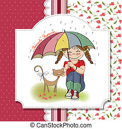 young pretty girl and her cat, friendship card in vector...