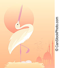 stork - an illustration of a stylized exotic bird in an...
