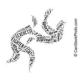 Judo pictogram on white background - Judo pictogram with...