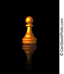 pawn - golden chess pawn on black background - 3d...
