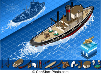 isometric old tugboat - detailed illustration of a isometric...