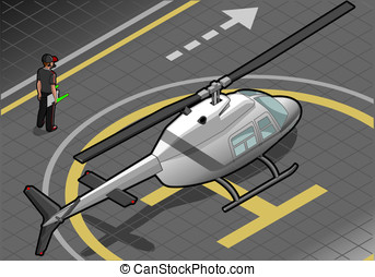 isometric white helicopter landed - detailed illustration of...