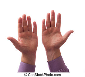 Two hands together on white background