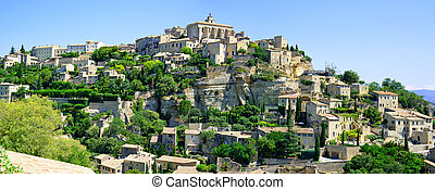 Gordes Medieval Village built on a rock hill in Luberon, Provence Cote Azur Region, France.