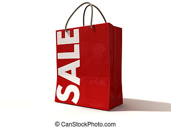 Shopping Bag Red Sale Front - A perspective view of a...
