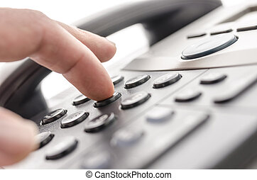 Telephone keypad detail - Detail of using a telephone...