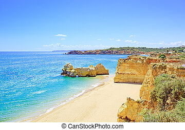 Rock Beach Praia da Rocha in Portimao. Algarve. Portugal -...