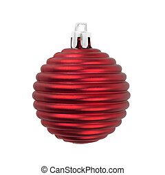 Christmas ball matte red decoration isolated on white. -...
