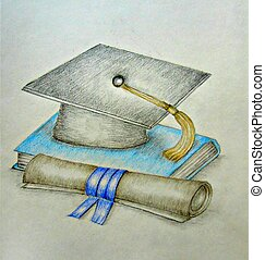 Cap and Gown - graduation day, colored pencils