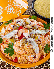 Fish tajine - Traditional ethnic food: fish tajine