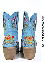leather flower boots - leather blue flower boots rear view...