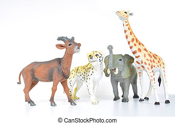 toy animals - plastic various animals on a white background