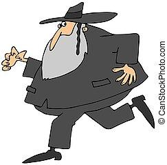 Running Rabbi - This illustration depicts a Jewish Rabbi...