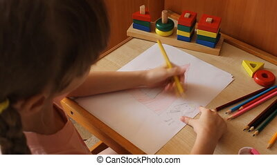 little girl draws a girl near the house 6020-01