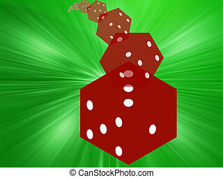 Rolling red dice illustration - Illustration of translucent...