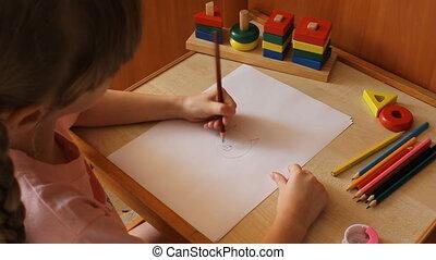 little girl draws a cat 6021