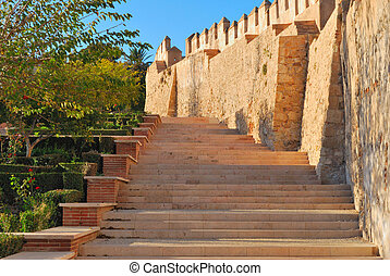 The Alcazaba - Stairs at the Alcazaba, a fortified complex...