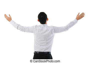 Smart Chinese Asian business man success from the back view , isolated on white background
